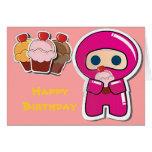 Tarjeta de cumpleaños rosada de Ninja- de la magda