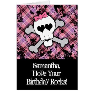 Tarjeta de cumpleaños rosada del cráneo y del
