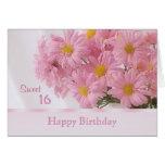 Tarjeta de cumpleaños rosada del dulce 16 de la ma