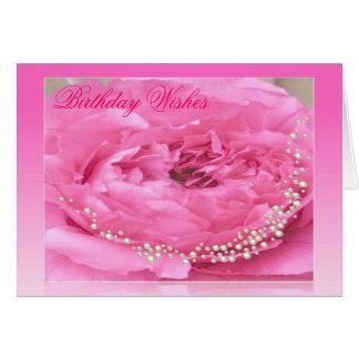 Tarjeta de cumpleaños rosada del Peony y de las pe