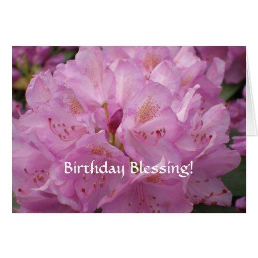 Tarjeta de cumpleaños rosada del rododendro