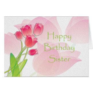Tarjeta de cumpleaños rosada del tulipán para la h