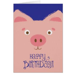 Tarjeta de cumpleaños rosada linda del cerdo