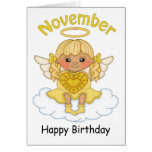 Tarjeta de cumpleaños rubia del ángel de noviembre