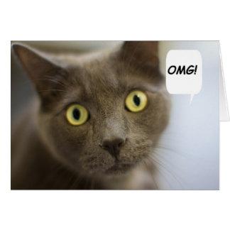 Tarjeta de cumpleaños rusa del gato azul