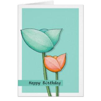 Tarjeta de cumpleaños simple del naranja 2 del