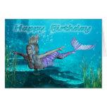 Tarjeta de cumpleaños - sirena - paisaje subacuáti