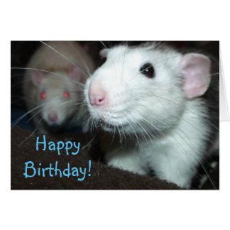 Tarjeta de cumpleaños sonriente de la rata