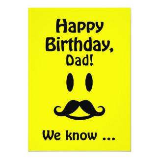 """Tarjeta de cumpleaños sonriente del bigote de invitación 5"""" x 7"""""""