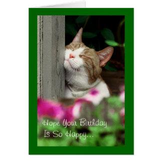Tarjeta de cumpleaños sonriente del gato