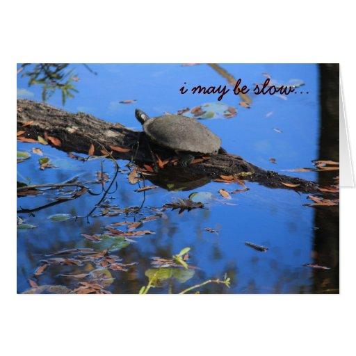 Tarjeta de cumpleaños tardía de la tortuga lenta