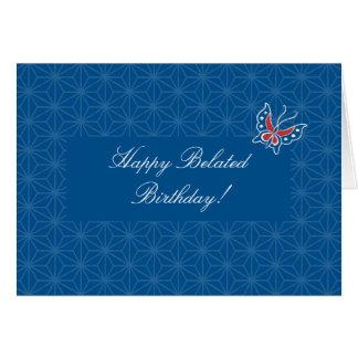 Tarjeta de cumpleaños tardía del modelo del batik