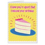 Tarjeta de cumpleaños tardía divertida