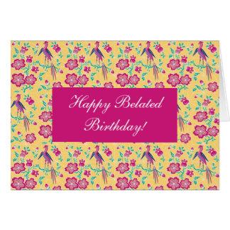 Tarjeta de cumpleaños tardía feliz del batik flora