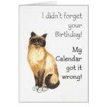 Tarjeta de cumpleaños tardía - gato de Birman