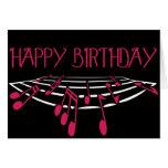 Tarjeta de cumpleaños temática de la música - rosa