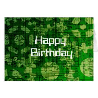 Tarjeta de cumpleaños temática de la tecnología