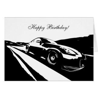 tarjeta de cumpleaños temática del coche 350Z