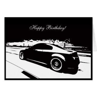 Tarjeta de cumpleaños temática del coche del cupé