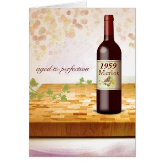 Tarjeta de cumpleaños temática del vino del