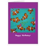 Tarjeta de cumpleaños tonta de los pescados del pa