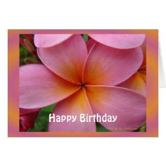 Tarjeta de cumpleaños tropical de la flor del