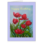 Tarjeta de cumpleaños, tulipanes,