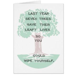 Tarjeta de cumpleaños verde del árbol de Snarky