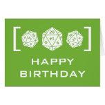 Tarjeta de cumpleaños verde del videojugador de