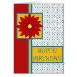 Tarjeta de cumpleaños vibrante colorida de la flor