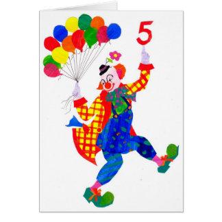 Tarjeta de cumpleaños vieja de cinco años del
