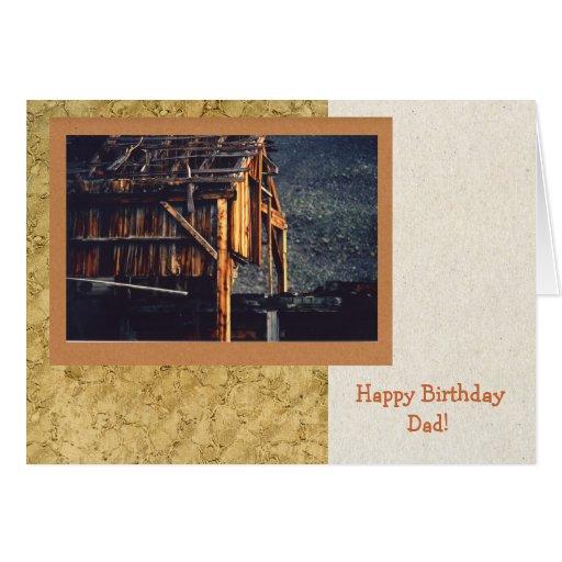 Tarjeta de cumpleaños vieja de la mina para el pap