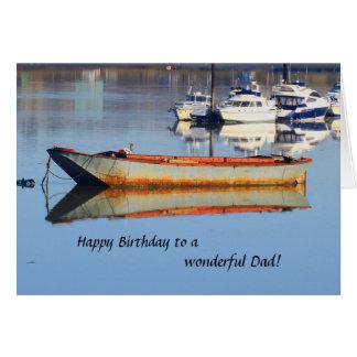 Tarjeta de cumpleaños vieja del papá del barco de