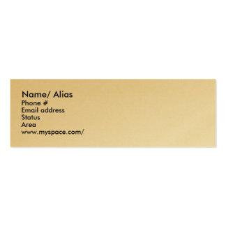 Tarjeta de datación para las reuniones rápidas - tarjetas de visita mini