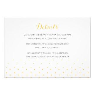 Tarjeta de detalles del parte movible del boda de anuncios personalizados