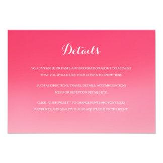 Tarjeta de detalles rosada del parte movible del invitación personalizada
