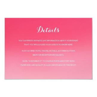"Tarjeta de detalles rosada del parte movible del invitación 3.5"" x 5"""