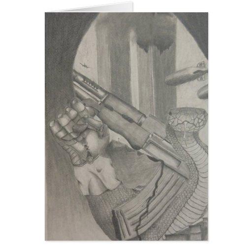 Tarjeta de dibujo de lápiz de la serpiente