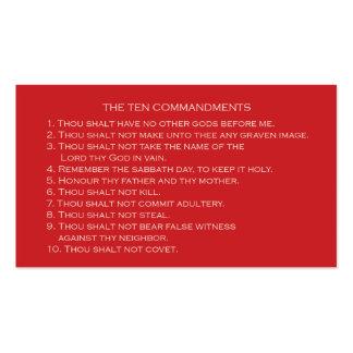 Tarjeta de diez mandamientos con la parte plantillas de tarjetas de visita