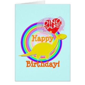 Tarjeta de Dino del amarillo del feliz cumpleaños