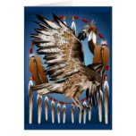 Tarjeta de Dreamcatcher del halcón del vuelo
