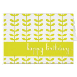 Tarjeta de encargo amarilla del feliz cumpleaños d