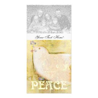 Tarjeta de encargo de la foto de la paloma de la p tarjeta fotografica