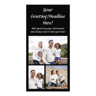 tarjeta de encargo de la foto del collage 3-Photo Tarjeta Con Foto Personalizada