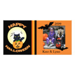 Tarjeta de encargo de la foto del gato de la bruja tarjetas fotograficas personalizadas