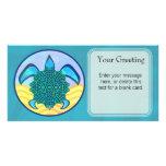 Tarjeta de encargo de la tortuga del nudo tarjeta personal con foto