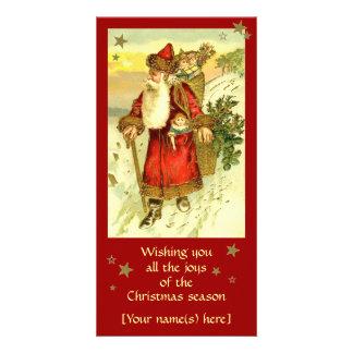 Tarjeta de encargo de Papá Noel del navidad antigu Tarjeta Fotográfica