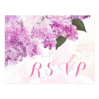 Tarjeta de encargo de RSVP de las lilas preciosas Postal