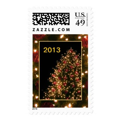 Tarjeta de encargo del árbol de navidad sellos