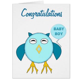 Tarjeta de encargo del búho azul lindo del bebé